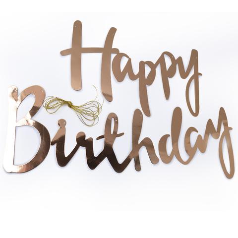 Гирлянда-буквы, Happy Birthday, Розовое Золото, 200 см