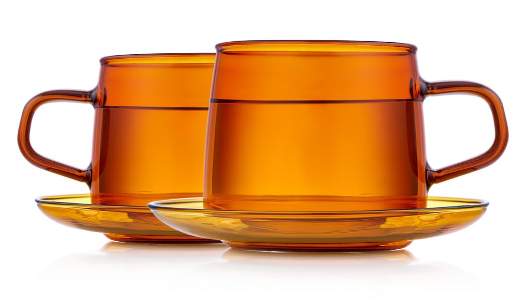 Чашка с блюдцем, чайная пара Стеклянные кружки янтарного цвета с блюдцами 2 штуки, 350 мл B2-800-350y.PNG