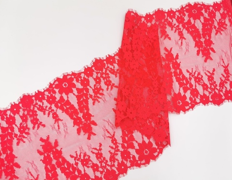 Кружево шантильи с ресничками, 25 см, арбузное, купон (3 м), (Арт: SK-2004)