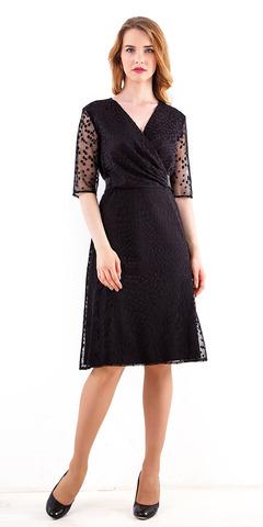 Фото черное двуслойное платье с полупрозрачными рукавами длиной 1/2 - Платье З251а-484 (1)