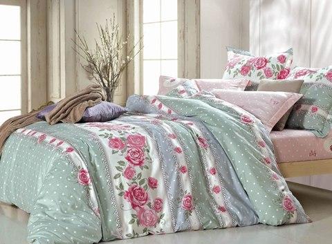 Сатиновое постельное бельё  2 спальное  В-155