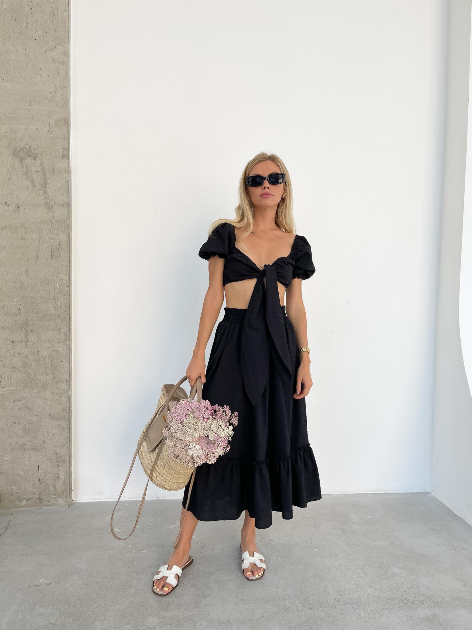 Костюм из хлопка: юбка и топ (черный)