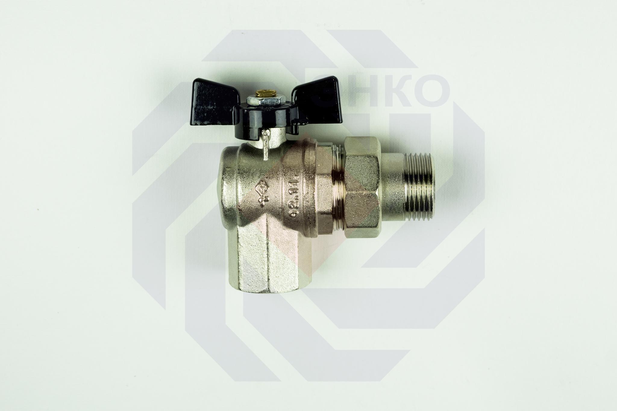Кран шаровой угловой с разборным присоединением ВР/НР BUGATTI 594 1