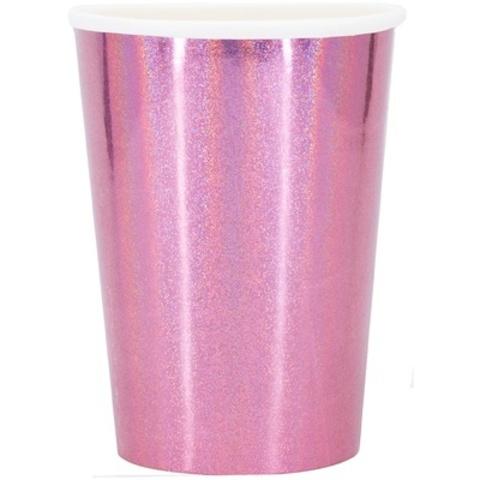 Стакан гологр розовый 250мл 6шт