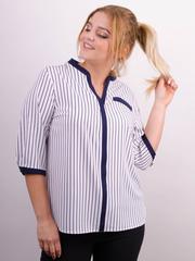 Аврора. Комбінована блуза великих розмірів. Білий+смуга.
