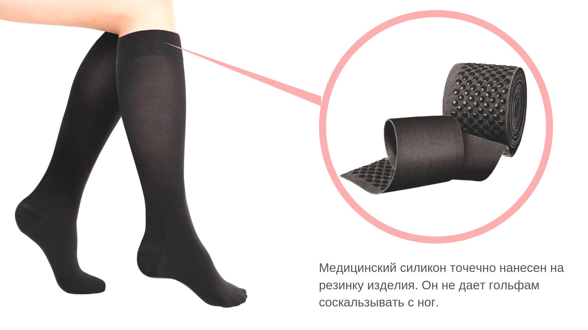 Компрессионные гольфы с нескользящей резинкой (подходят для мужчин и женщин) 2 класс, черный цвет