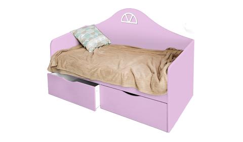 Детский диван-кровать с двумя ящиками розовый