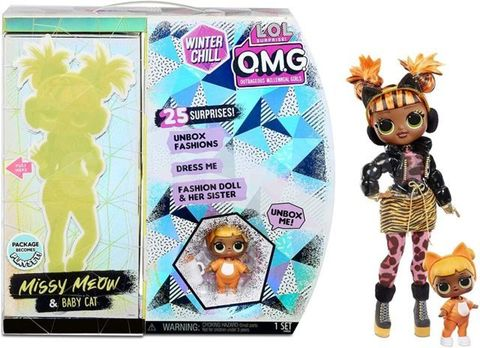 Игровой набор O.M.G. Winter Chill Missy Meow Fashion Doll & Baby Cat with 25 Surprises 27 см, 570271