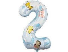 К Цифра, 2, Зверюшки с шарами мальчику, 40