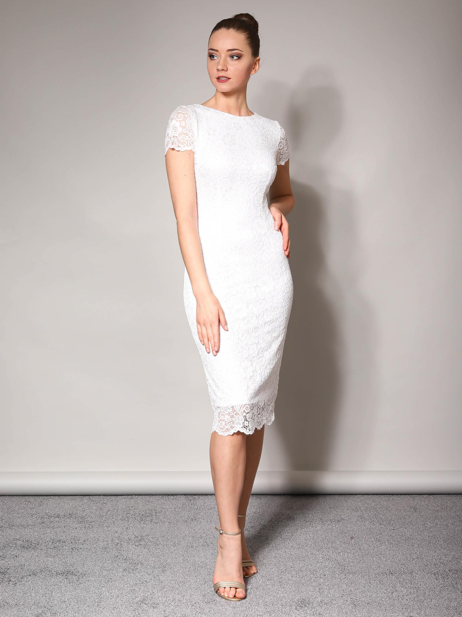 Свадебное кружевное платье с коротким рукавом (молочный)