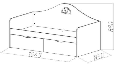 Детский диван-кровать с двумя ящиками размеры