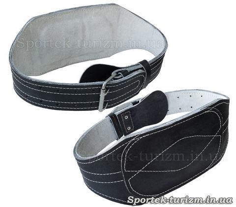 Черный кожаный атлетический пояс с подкладкой для спины, длина 95 см, широкая часть 15 см