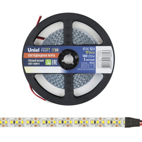 ULS-M16-2835-180LED/m-10mm-IP20-DC12V-17W/m-5M-3000K PROFI Гибкая светодиодная лента на самоклеящейся основе. Катушка 5м. в герметичной упаковке. Теплый белый свет(3000К). ТМ Uniel