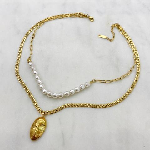 Сэт 2-в-1 Колье с жемчугом и цепь с медальоном, сталь (золотистый)