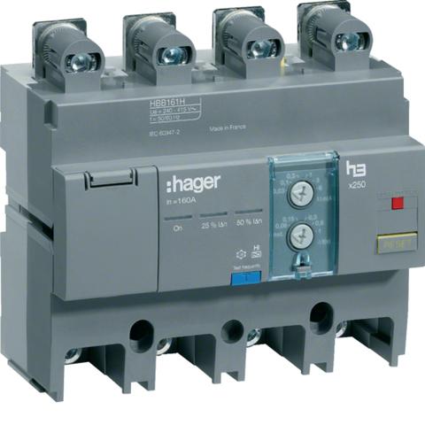 Блок электронный ВДТ, 4Р, уст. снизу, x250, In до 160А, ΔIn=[30,100,300мА,1,3,6А], задержка откл. до 1с