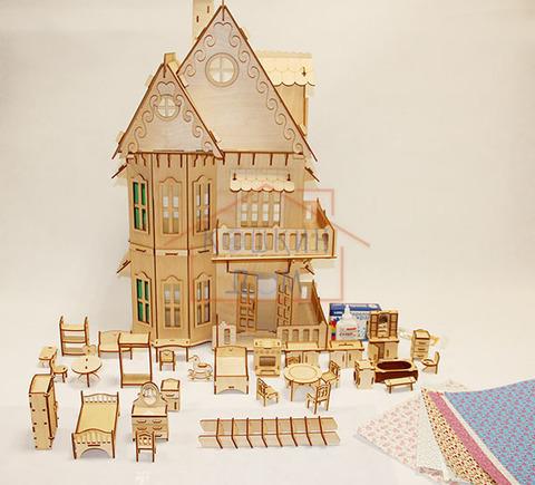 Кукольный домик, 3-этажный с полным набором мебели