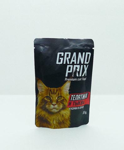 Grand Prix пауч для кошек кусочки в соусе (телятина и тыква) 85г