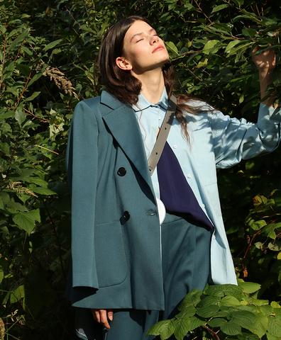 Пиджак из шерсти цвета морской