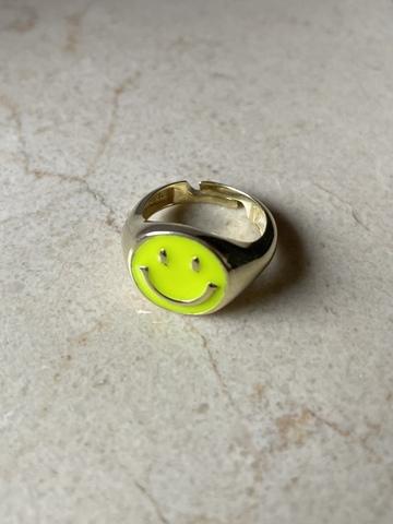 Кольцо Эмодзи из серебра с желтой эмалью