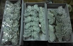 Бабочки декоративные на прищепке белые с блестками, 6 см, 1 шт.