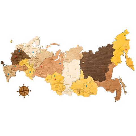 Карта России из дерева Color фото 1