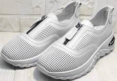 Белые туфли кроссовки без шнурков женские на лето Wollen P029-259-02 All White.