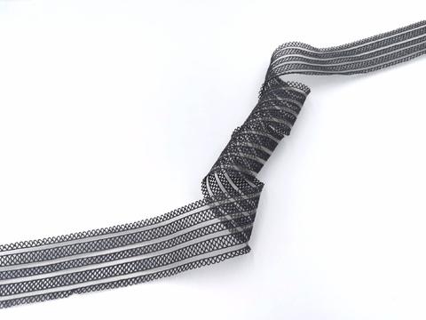 Резинка с прозрачными нейлоновыми вставками, 3,5 см, темно-серая, (Арт: RNV-004), м