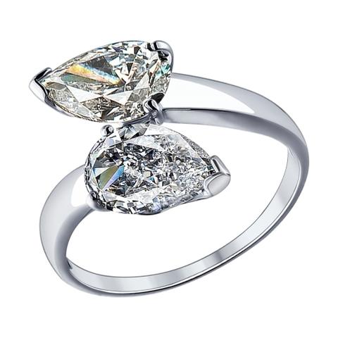 94012080 - Кольцо из серебра с фианитами капельками
