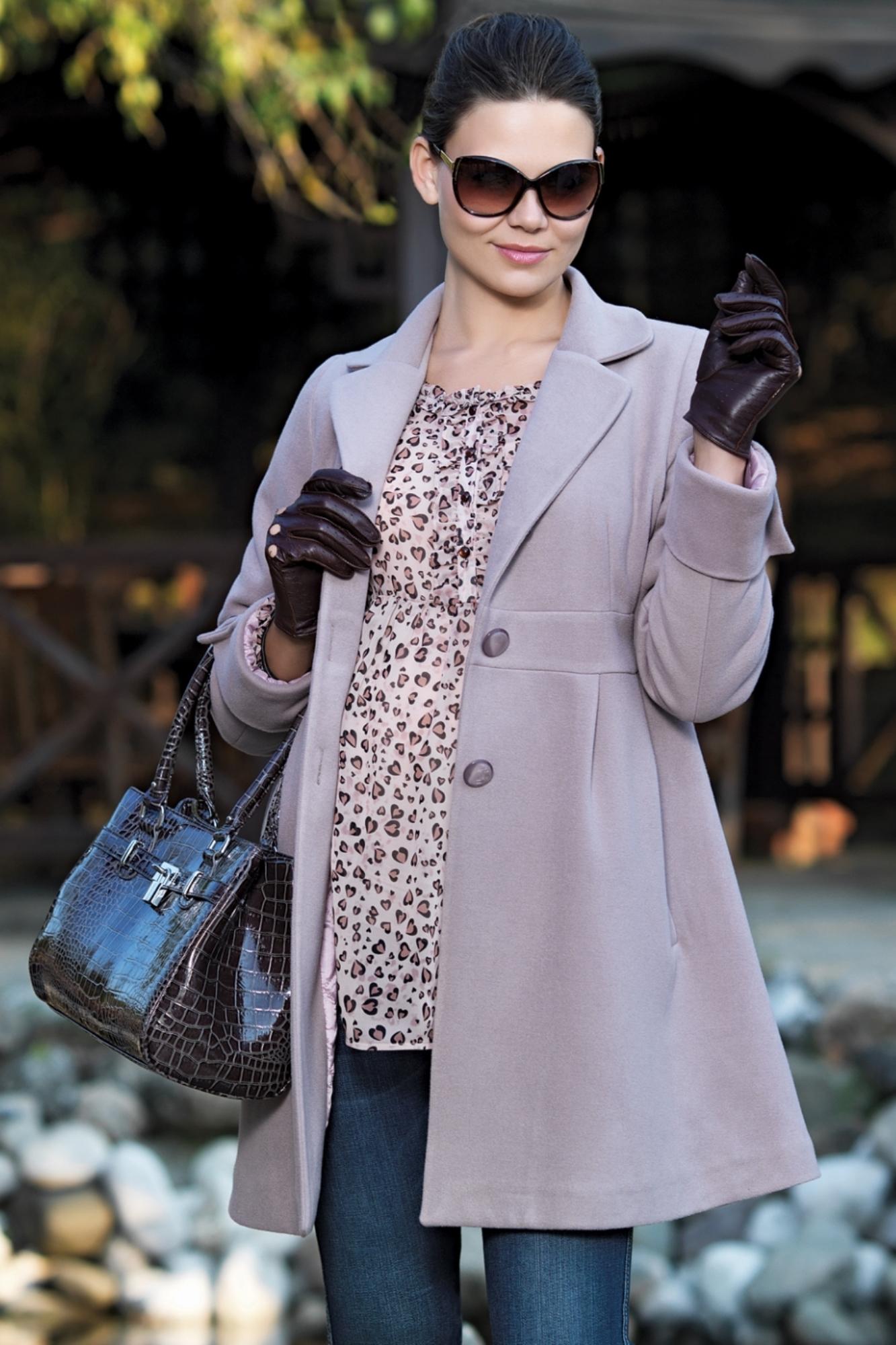 Пальто для беременных 05094 серый