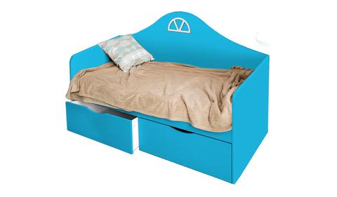 Детский диван-кровать с двумя ящиками голубой