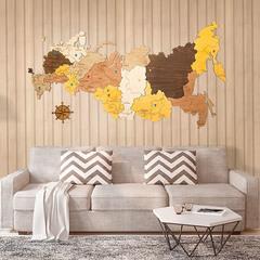 Карта России из дерева Color фото в интерьере