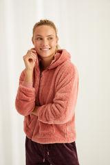 Рожевий короткий халат з пухнастого флісу