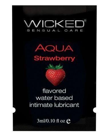 Лубрикант с ароматом клубники WICKED AQUA Strawberry - 3 мл.