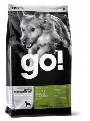 сухой беззерновой корм  GO! Гоу для щенков и собак всех пород с индейкой для чувствительного пищеварения