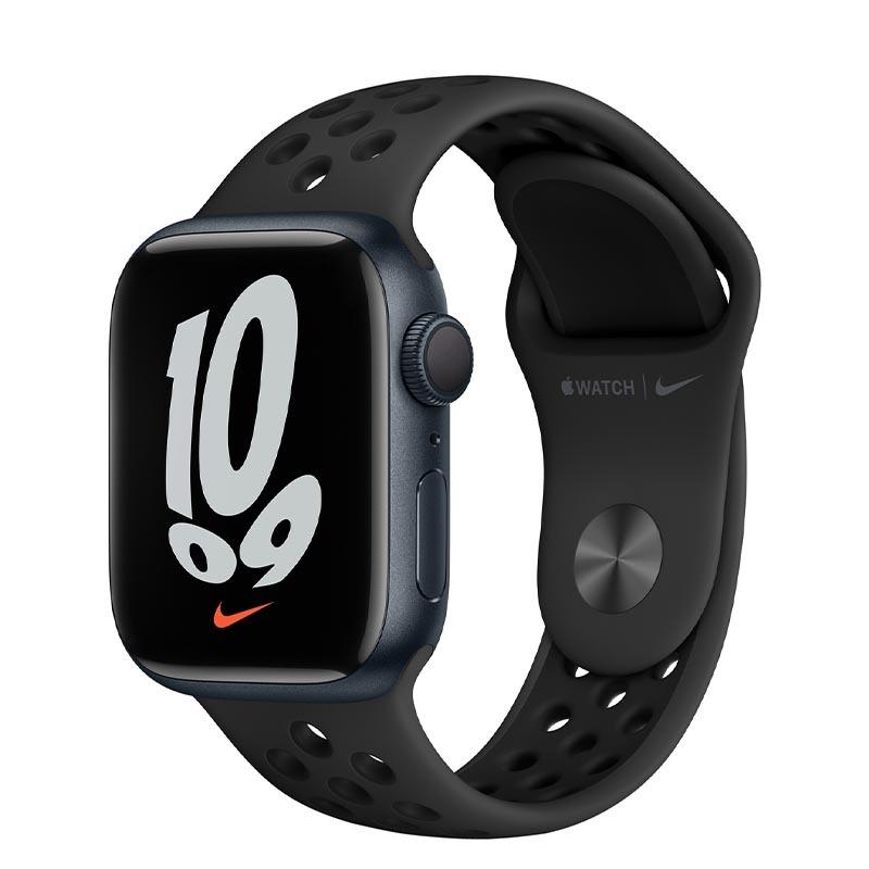 Apple Watch Nike Series 7, GPS, 41 мм, корпус из алюминия цвета «тёмная ночь», спортивный ремешок Nike цвета «антрацитовый/чёрный»