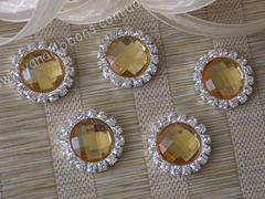 Камни круглые в стразовом обрамлении желтые