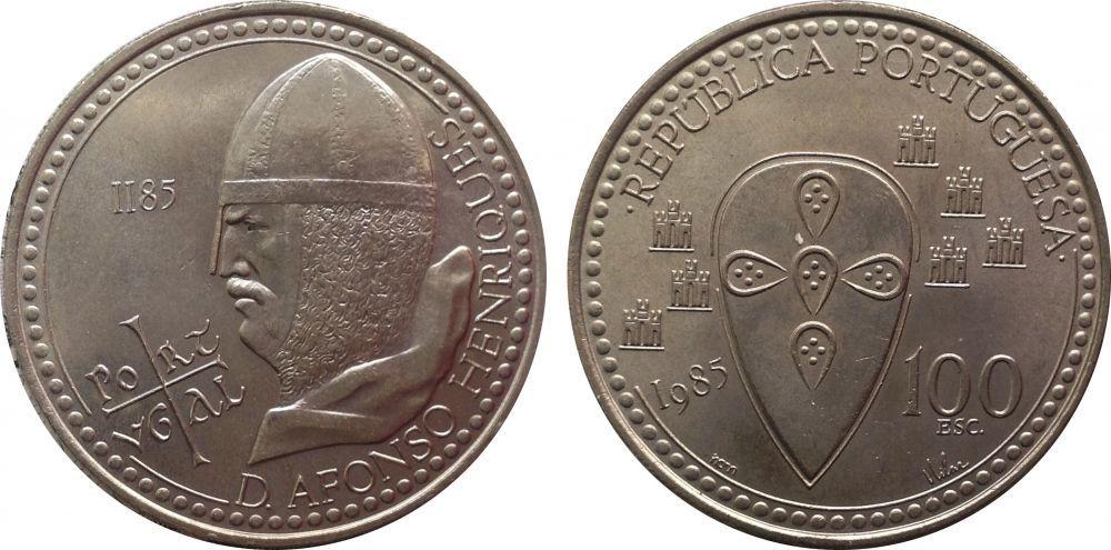 100 эскудо. 800 лет со дня смерти короля Альфонсо Энрике. 1985 год. UNC