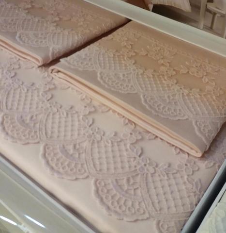 Постельное белье MINERVA розовый  с кружевом   TIVOLYO HOME Турция