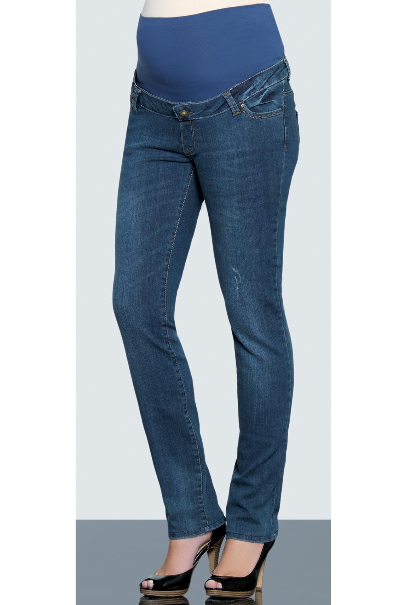 Фото джинсы для беременных EBRU, зауженные, средняя посадка, плотный эластичный деним от магазина СкороМама, синий, размеры.