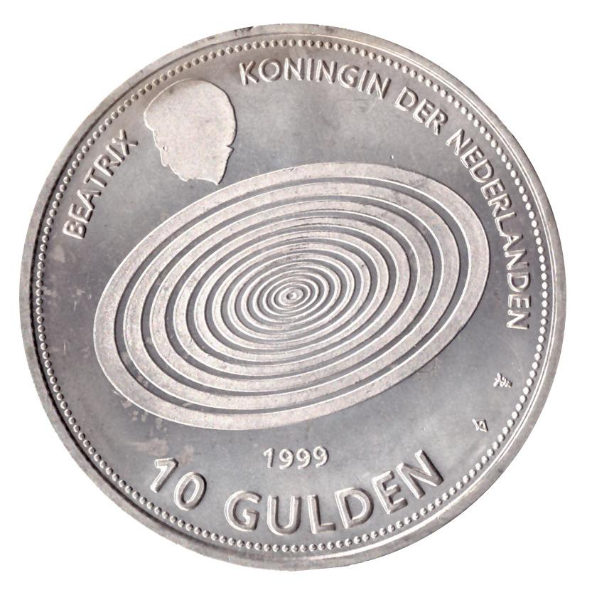 10 гульденов 1999 год Миллениум, Нидерланды. AU