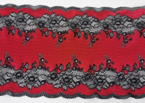Эластичное кружево, темно-красное и черный, 22см (Артикул: EK-2111), м