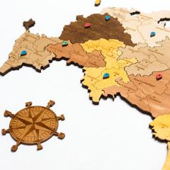 Карта России из дерева Color фото 3