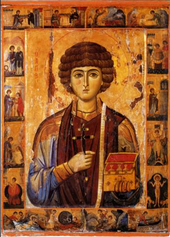 Икона святой Пантелеимон с житием на дереве на левкасе мастерская Иконный Дом