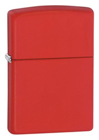 Зажигалка Zippo Red Matte, латунь/сталь, красная, матовая, 36x12x56 мм
