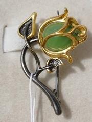 Роза-нефрит (брошь из серебра с позолотой).