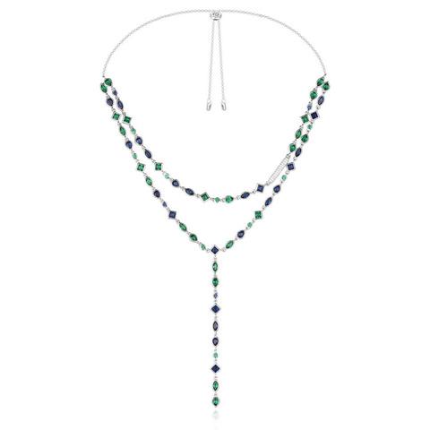 AC3683M - Колье-галстук двухслойное из серебра с цветными цирконами