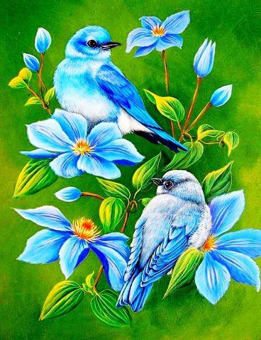 Алмазная Мозаика 40x50 Голубые птицы и цветы (арт. GA75470 )