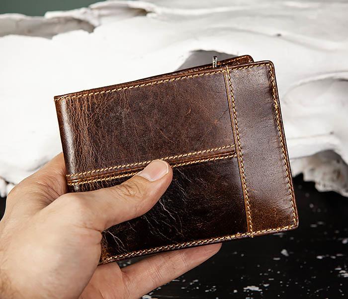 WL329-2 Вместительное мужское кожаное портмоне с монетницей фото 10