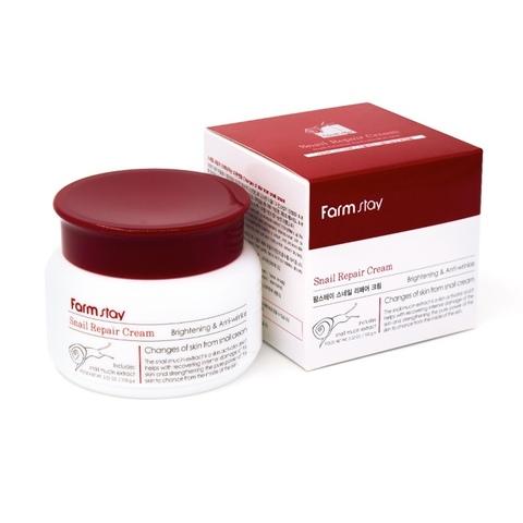 Восстанавливающий крем со слизью улитки против морщин и пигментации FARMSTAY Snail Repair Cream 100