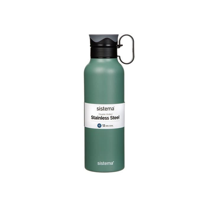 "Термобутылка Sistema ""Hydrate"" с петелькой 600 мл, цвет Темно-зеленый"